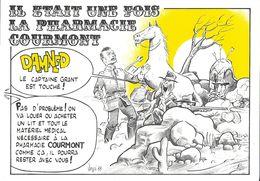 """BERNARD VEYRI ILLUSTRATEUR  IL ÉTAIT UNE FOIS LA PHARMACIE COURMONT """" COW-BOY INDIENS CALENDRIER GARDES 1988 - Veyri, Bernard"""