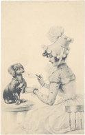 Cpa Illustrateur - Femme Et Chien Teckel, Viennoise M.M. Vienne - Illustrators & Photographers
