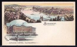 SUPERBE CARTE LITHO ** BUDAPEST - GRAND HOTEL HUNGARIA ** CARTE EN SUPERBE ETAT !! - Hongrie