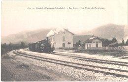 FR66 CAUDIES - Brun 139 - Colorisée - La Gare - Le Train De PERPIGNAN - Animée - Belle - Gares - Avec Trains