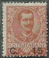 ITALIA REGNO ITALY KINGDOM 1905  RE VITTORIO EMANUELE III KING SOPRASTAMPATO SURCHARGED CENT. 15 MNH - Nuovi