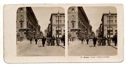 """0055 """" ROMA - CORSO E PIAZZA COLONNA  -  VEDUTA """" CART. STEREOSCOPICA ORIG. - Cartoline Stereoscopiche"""