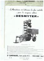 L'ARRACHEUSE DE BETTERAVES  DESMYTER Ets  CAMPINAIRE à VIEUX- CONDE (NORD)  1959 - Advertising