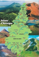 Cartes Géographiques - Volcans D'Auvergne - 1 Timbre Philatélique Au Verso, Voir Scan - Cpm - écrite - - Landkaarten