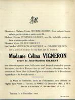 Faire-part Mortuaire VIGNERON Célina (1857-1961) Vve GILBERT, J.-B. Morte à TAMINES - Todesanzeige