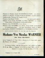 Faire-part Mortuaire GILBERT Anna (1886-1965)) Vve WARNIER, N. Née Et Morte à TAMINES - Todesanzeige
