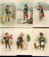 Lot De 6 Images Anciennes Sur Le Thème De L'hiver - Autres