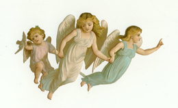 CHROMOS DECOUPIS   GROUPE DE 3 ANGES     COLOMBE - Angels