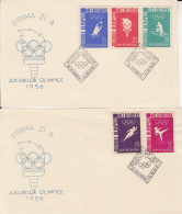 OLYMPIC GAMES, MELBOURNE'56, WATER POLO, CANOE, GYMNASTICS, ATHLETICS, COVER FDC FRONT, 2X, 1956, ROMANIA - Sommer 1956: Melbourne