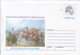 KING MICHAEL THE BRAVE OF ROMANIA, CALUGARENI BATTLE, COVER STATIONERY, ENTIER POSTAL, 2001, ROMANIA - Interi Postali