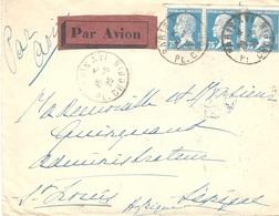 26-6 -25 - Enveloppe  PAR AVION Affr. Bande De 3 PASTEUR 75c De Paris Pour St Louis - Marcophilie (Lettres)