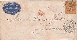 Enveloppe Cachet Commercial Imprimé Cesar Labi N°38 Paris Etoile 4 Pour Livourne - 1849-1876: Periodo Clásico