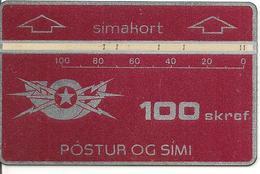 CARTE- ISLANDE -HOLOGRAPHIQUE-1986-100 SKREF-GENERIQUE-GRENAT-V° N°601A77909 Endroit En Bas A Droite-TBE-TRES RARE - Iceland