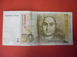BILLET De 1989 ALLEMAGNE De L'OUEST 50 DEUTSCHE MARK Balthazar Neumann @ WPM Pick N° 40a Signature Pohl- Schlesinger - [ 7] 1949-… : RFD - Rep. Fed. Duitsland