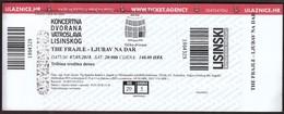 Croatia Zagreb 2018 / The Frajle - Ljubav Na Dar, Love As A Gift / Music, Concert Hall Vatroslav Lisinski / Entry Ticket - Eintrittskarten