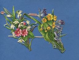 Bel Ensemble  2 Jolis  Chromo Découpis  Gaufrés Attachés Gerbe Fleurs Printemps Coucou Perce Neige  WH 3388 15 Cm X9 Cm - Fiori