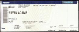 Croatia Zagreb 2017 / Bryan Adams / Music, Concert / Arena / Entry Ticket - Eintrittskarten