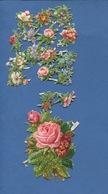 Bel Ensemble   Jolis  Chromo Découpis  Gaufrés Attachés Partiellement Fleurs Roses  10 Cm X 8 Cm - Fiori