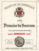 Étiquette  - Grand Vin De Bordeaux  1972 Domaine Du Saureau - VILLENAVE De RIONS - Bordeaux
