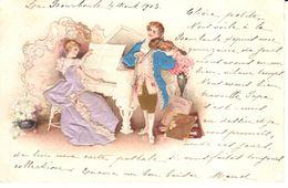 Thèmes - Fantaisies - Musique Et Musiciens - Couple - Relief - CPA 1903 - Musique Et Musiciens