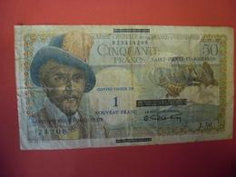 BILLET De 1960 SAINT PIERRE ET MIQUELON - SURCHARGE 1 Nouveau Franc Sur 50 Francs - Rare - 1955-1959 Surchargés En Nouveaux Francs