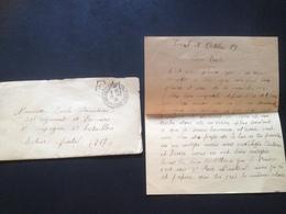 Enveloppe + Lettre 19/10/39 FM - Documents Historiques