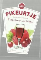 """- **2 X Etiket **-  """"""""  PIKEURTJE    """"""""-Frambozen  En  Bessen - - Frutas Y Legumbres"""