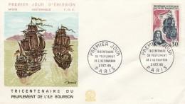 ENVELOPPE PREMIER JOUR  1965 TRICENTENAIRE DU PEUPLEMENT DE L'ILE  BOURBON REUNION - FDC
