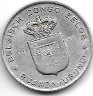 Belgian Congo Ruanda-urundi  1 Franc 1957  Km 4 - Congo (Belge) & Ruanda-Urundi
