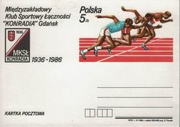 Polen Polska 1986 - Laufen - Karte - Leichtathletik