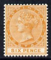 102882 Dominica 1886-90 QV Crown CA 6d Orange Mounted Mint SG 25 - Dominica (...-1978)