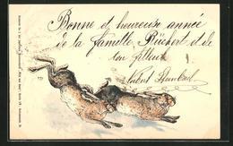 AK Flüchtende Hasen Im Schnee - Animals