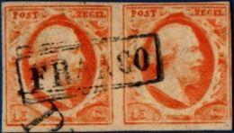 Nederland 1852 15 Cent Mooi Gerand Paar Franco Stempel, First Emission, Pair Good Margins - Periode 1852-1890 (Willem III)