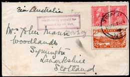 New Zealand, Timaru To Scotland Airmail Cover 1923 (insufficiently Prepaid Cancel) - 1907-1947 Dominion