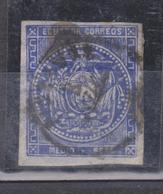 ECUADOR 1865 COAT OF ARMS HALF REAL BLUE IMPERFORATED RIOBAMBA POSTMARK 4 MARGINS SC # 2 - Equateur