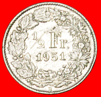 # SILVER (1875-1967): SWITZERLAND ★ 1/2 FRANC 1951B! LOW START ★ NO RESERVE! - Svizzera