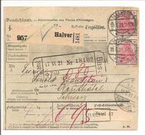 Paketkarte Halver>Schweiz 1921 - Deutschland
