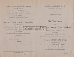 60 226 BEAUVAIS OISE - TARIF -  Manufacture De Couvertures COMMUNEAU Succ BOLLE - DRIARD - LETEILLIER - Textile & Vestimentaire