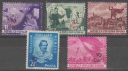 ROMANIA - 1952 Eminescu Surcharges. Scott 823-827. Mint - Neufs