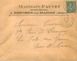 ENVELOPPE ET COURRIER   MAINGON FAUVET JARDINIER MARAICHER A ESSOMES SUR MARNE AISNE 17  JUIN 1919 - 1900 – 1949