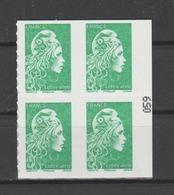 FRANCE / 2018 / Y&T N° AA 1598A ** : Marianne D'YZ (du Carnet Nouvelle Marianne Guichets) TVP LV X 4 - état D'origine - Adhesive Stamps