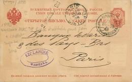 TIMBRES.N°2837.POLOGNE.1898.WARSZAWA AVEC TP RUSSE ET OBLITERATION POUR PARIS + CACHET.SUPERBE - Polen