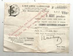 Lettre De Change , Librairie LAROUSSE , Rue Montparnasse ,Paris ,1941,cachet : Enregistrement ,2 Scans , Frais Fr 1.45e - Bills Of Exchange