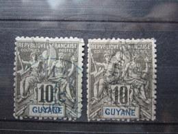 VEND TIMBRES DE GUYANE N° 34 X 2 NUANCES DIFFERENTES !!! - Französisch-Guayana (1886-1949)