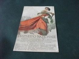 PICCOLO FORMATO PRESTITO NAZIONALE ILLUSTRATORE MARIO BORGONI SOLDATO CON BANDIERA ITALIANA TRA LE MANI  ABRASIONE - Patriottiche
