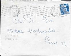 RHONE 69-  VILLEURBANNE CENTRE URBAIN  - FLAMME N° VIL 922 R-   -  1954 -    - - Postmark Collection (Covers)