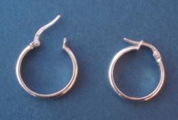 BO-33 Paire De Rond D'oreille En Or Gris (3 Poinçons)  De 20mm De Diamètre - Boucles D'oreilles