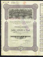 LE CENTRAL ELECTRIQUE DU NORD - Action Privilègiée De 200 Frs - Année 1923 - Tirage : 25.000 - 2 Scans. - Asie
