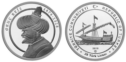 AC - ORUC REIS - OTTOMAN ADMIRAL 1474 - 1518 SHIPS AND DISCOVERER SERIES #9 COMMEMORATIVE SILVER COIN TURKEY 2018 PROOF - Turquia