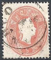 Austria 1860 Effigie Di F. Giuseppe I, 5k Vermiglio #  Michel 20 - Scott 14 - Unificato 19 USATO - 1850-1918 Impero